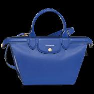 Sac Longchamp Le Pliage cuir héritage bleu