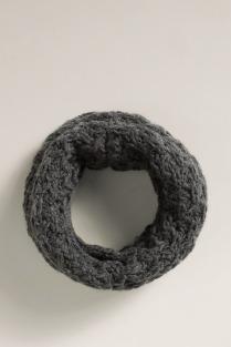 col en maille à haute teneur en laine - gris